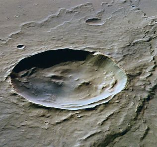 Impact crater on Mars. Credit: G. Neukum/ESA,DLR, FU Berlin
