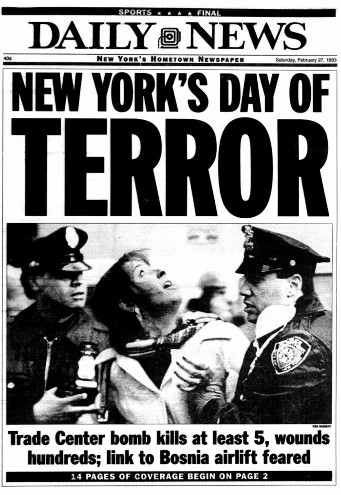New York Daily News front page, Feb 26th, 1993.