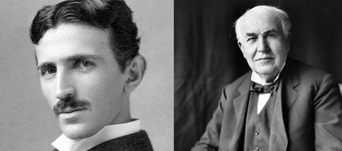 Photo of Nikola Tesla (left), Thomas Edison (right).