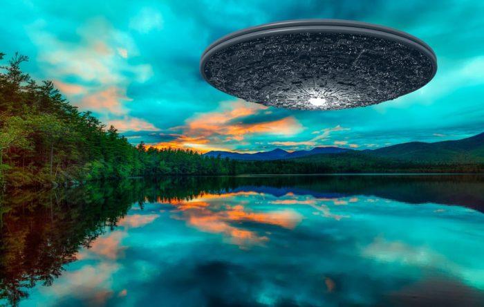 Superimposed UFO over a lake