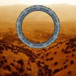 CGI drawing of a star gate with Iraq landscape in background.