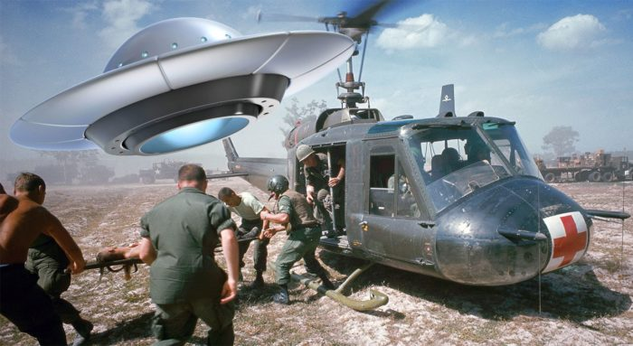 UFO superimposed over a scene from the Vietnam War
