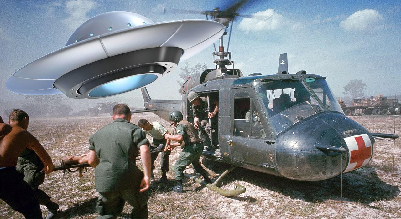 Vietnam scene with UFO.