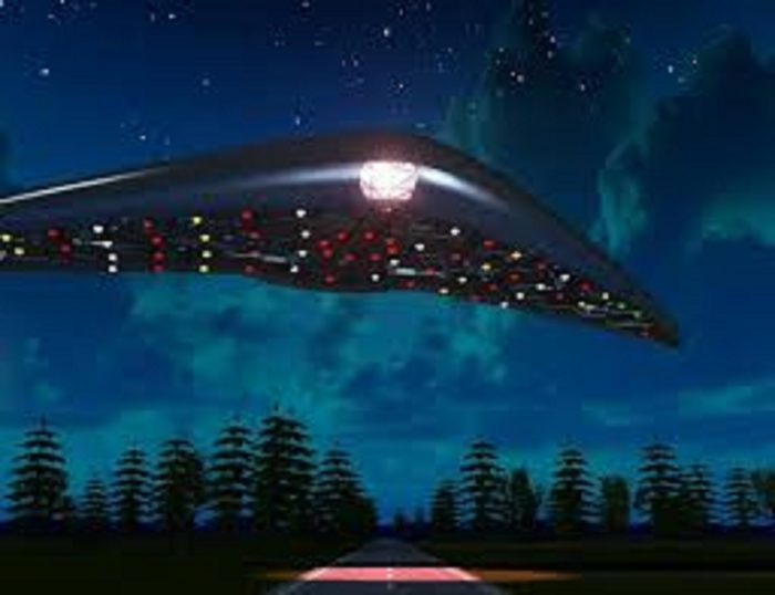 A depiction of a UFO over Hudson Valley