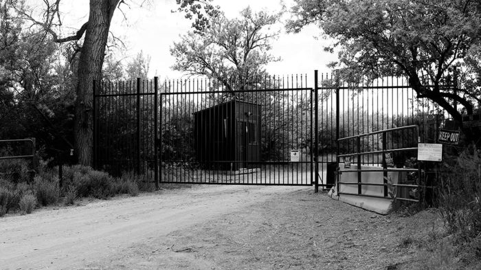 The locked entrance to Skinwalker Ranch
