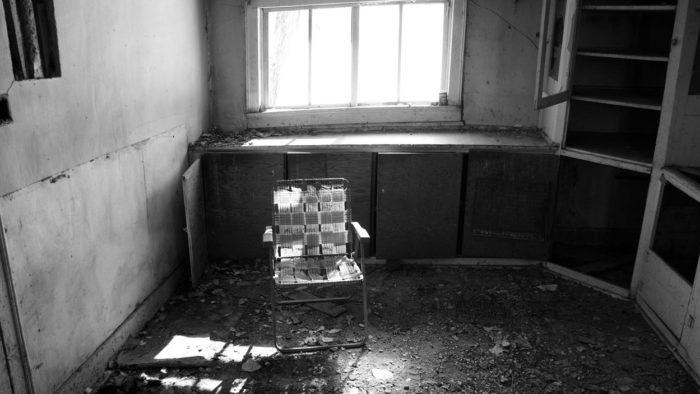 A chair inside an abandoned Skinwalker Ranch