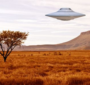 Artist's impression of a UFO over the South African landscape.