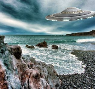 Iceland coastline with UFO in the sky (drawing).