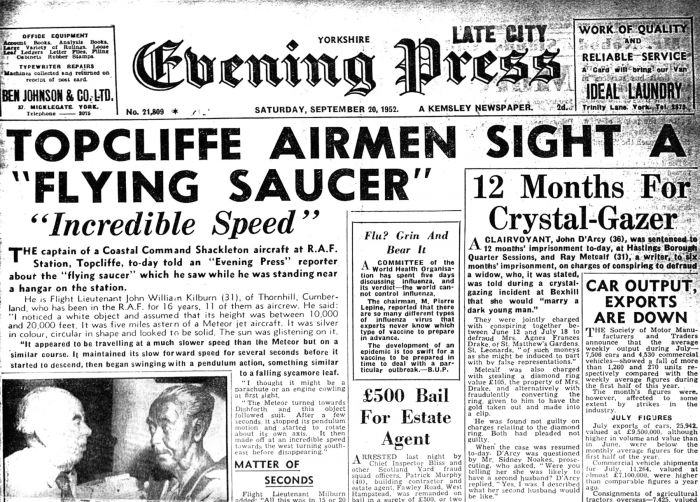 Newspaper cover page from Yorkshire Evening Press showing the Topcliffe sighting.