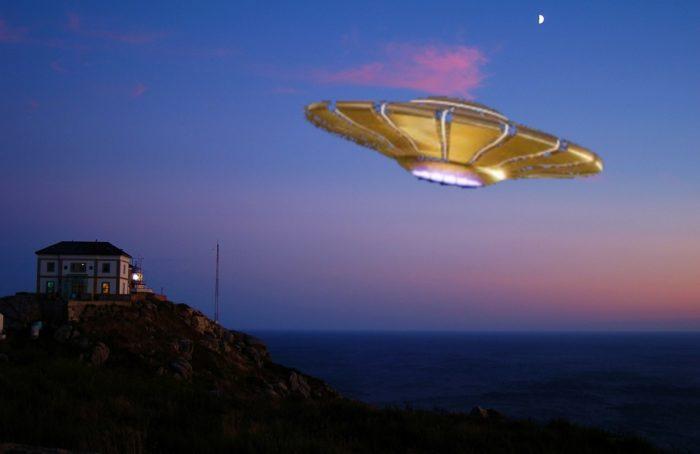 A superimposed UFO over a coastal house