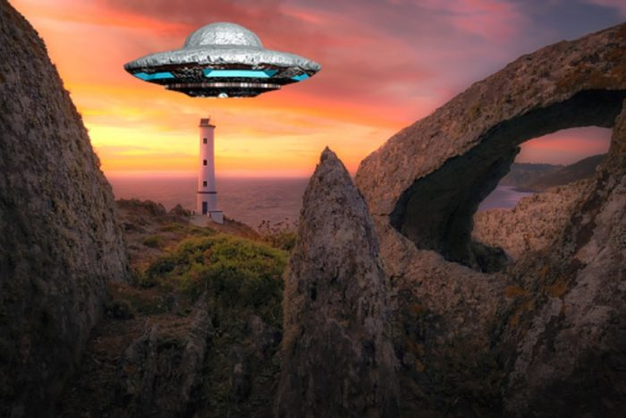 A superimposed UFO over the sea coast