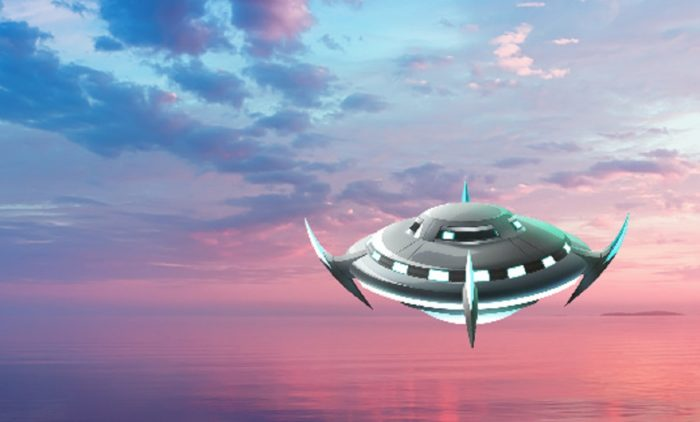 A superimposed UFO in the sky