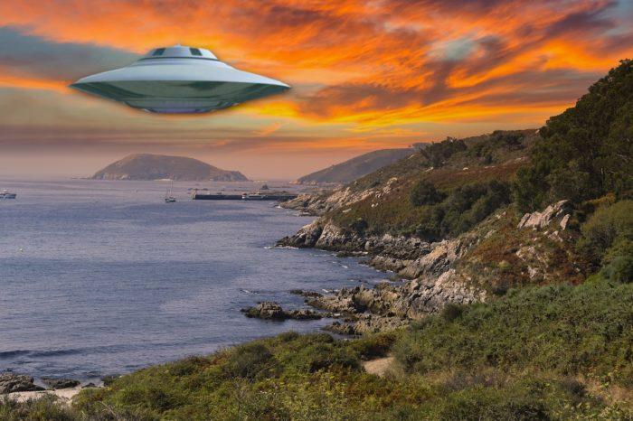 A superimposed UFO over the coast