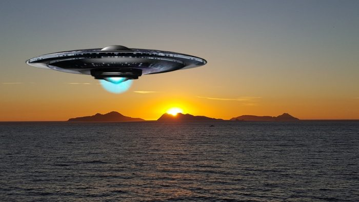 A superimposed UFO over the water