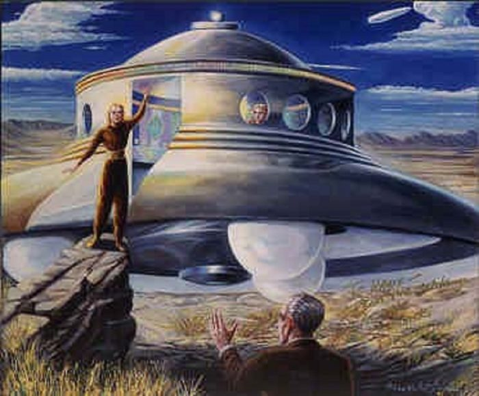 A depiction of a typical 1950s UFO encounter