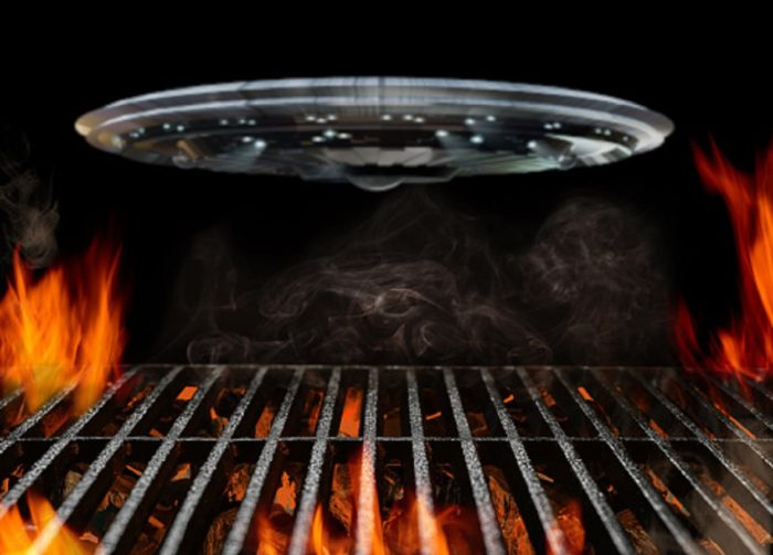 A depiction of a UFO hovering a BBQ grill