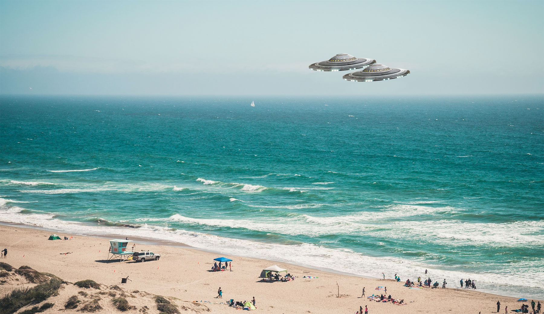 An artist's drawing of two UFOs over Manresa Beach, California.
