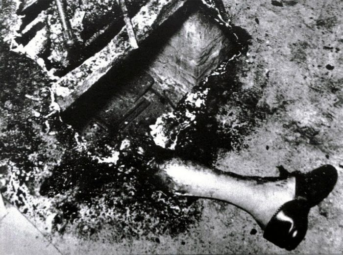 The remains after spontaneous human combustion occurred.