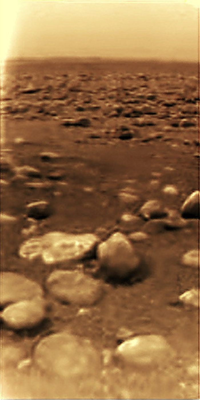 A close-up image of the surface of Titan