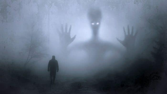 A depiction of a paranormal alien