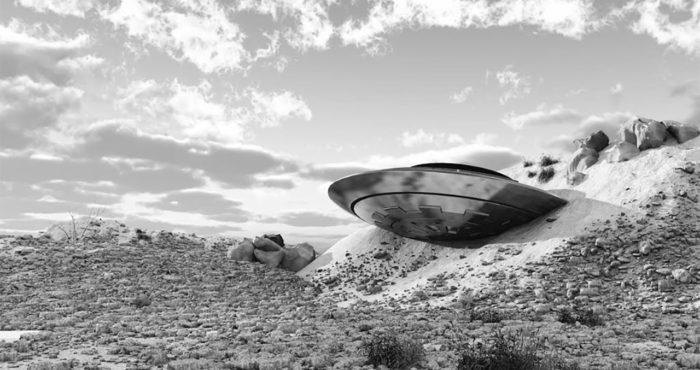 Depiction of a crashed UFO