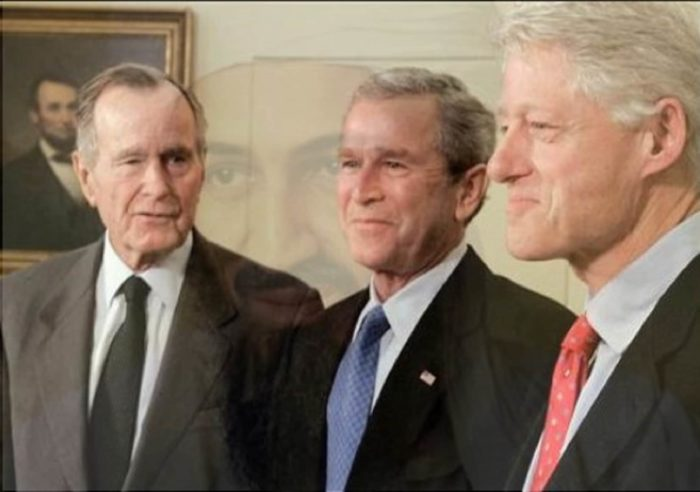 George Bush Sr and Jr next to Bill Clinton with Osama Bin Laden's face superimposed on top