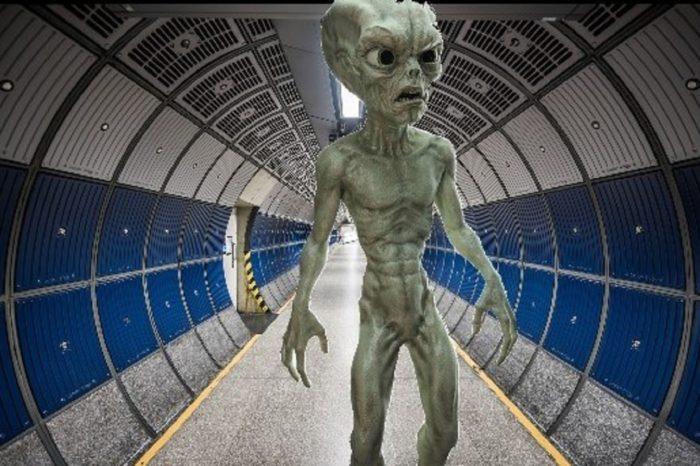 Depiction of an alien in a secret facility
