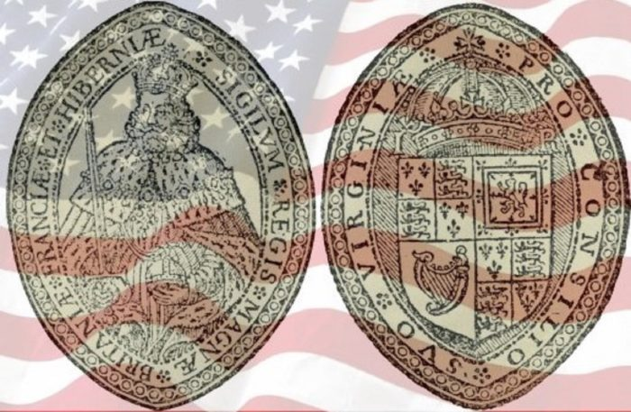 The seal of the Virginia Company with a US flag superimposed underneath
