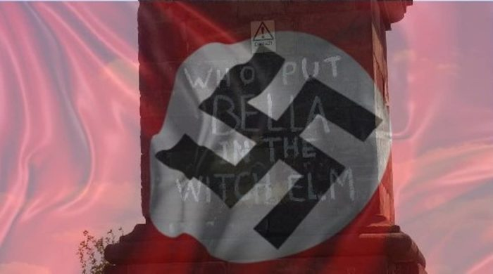 Graffiti referencing Bella with a Nazi flag superimposed over the top