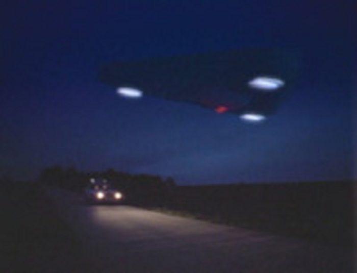 An artist's impression of a triangular UFO