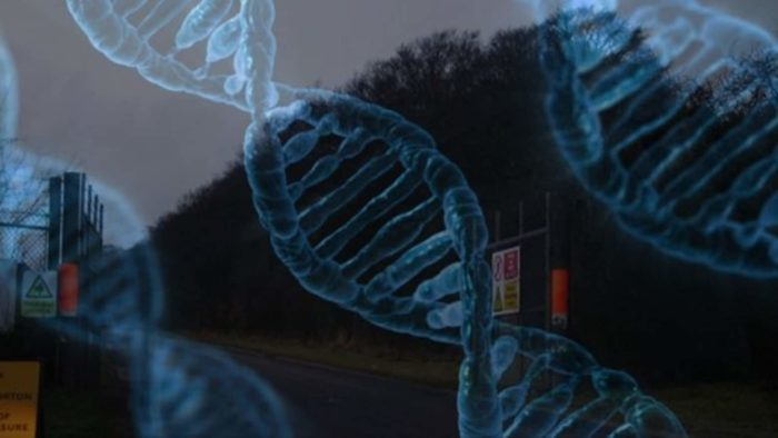The entrance to Porton Down with DNA strands superimposed over the top