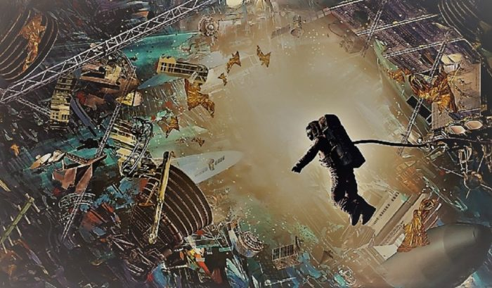 A dramatic depiction of an astronaut surrounded by space debris