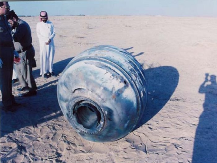 A piece of space debris that fell in a desert in Saudi Arabia in 2001