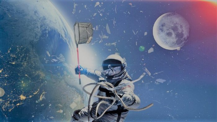 A depiction of an astronaut in space among debris