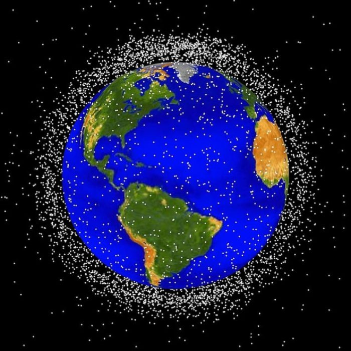 A depiction of space debris orbiting the Earth