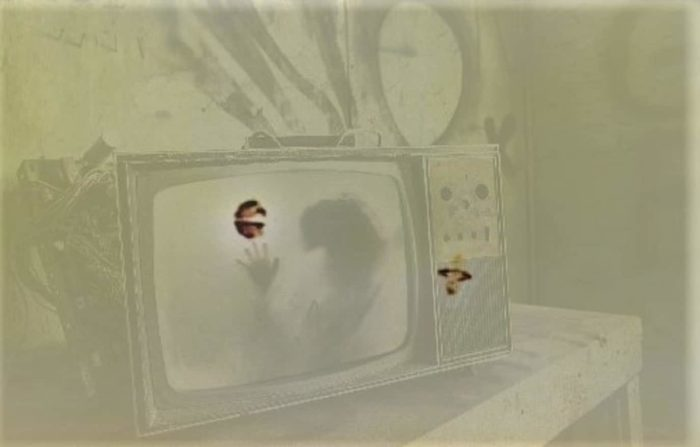 An image  of UFOs with a superimposed picture of a television