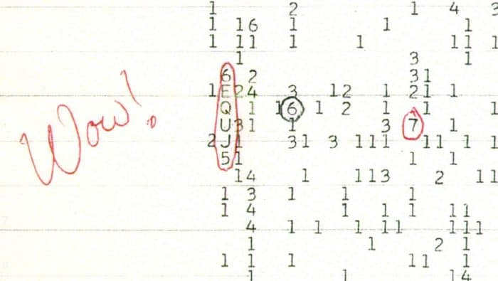 Image of the famous Wow! Signal