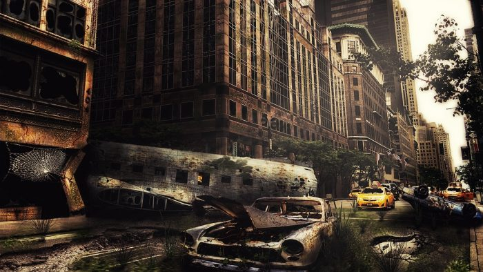 A depiction of an apocalyptic city