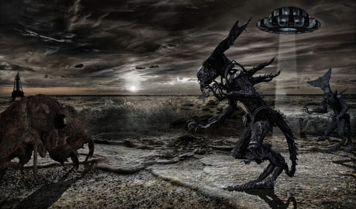 Depiction of aliens, UFOs and strange monsters