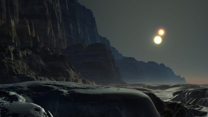 A depiction of an alien world