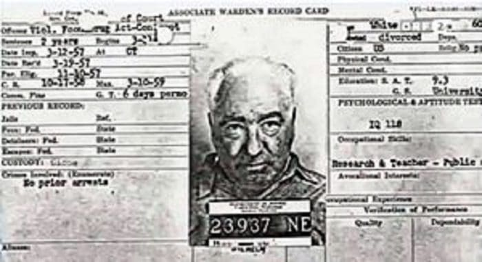 A picture of Reich's Lewisburg Federal Penitentiary arrest files