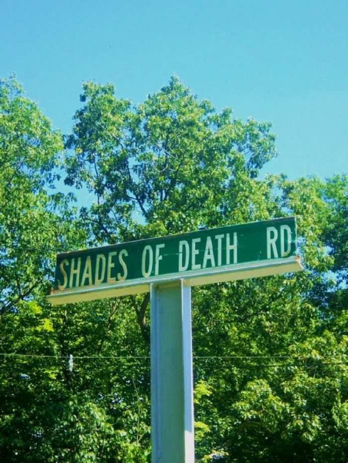Shades of Death Road roadsign
