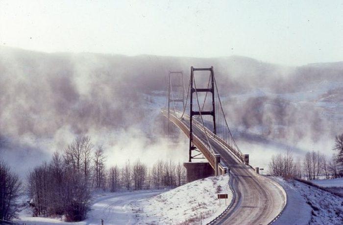 The Dunvgegan Bridge in Alberta, Canada