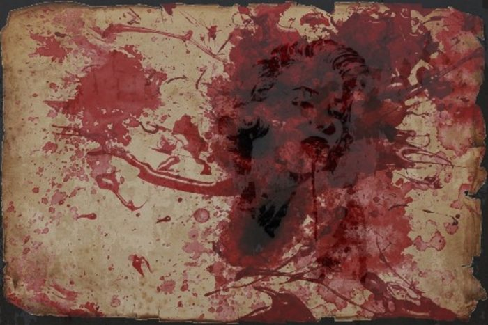 A sketch of Marilyn Monroe with blood superimposed over the top
