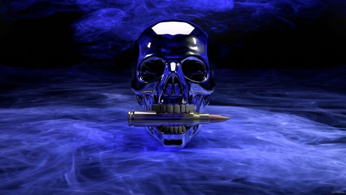 A silver skull with a bullet in its mouth on a dark smoky background