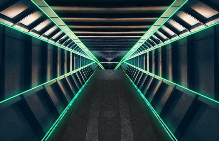 A depiction of a tunnel in a spaceship