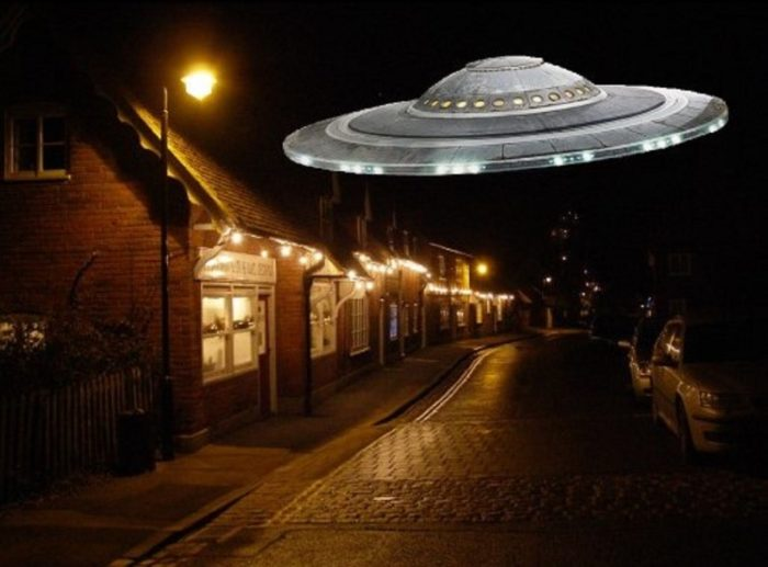 A superimposed UFO over a typical English street