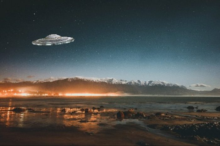A depiction of a UFO off the New Zealand coast