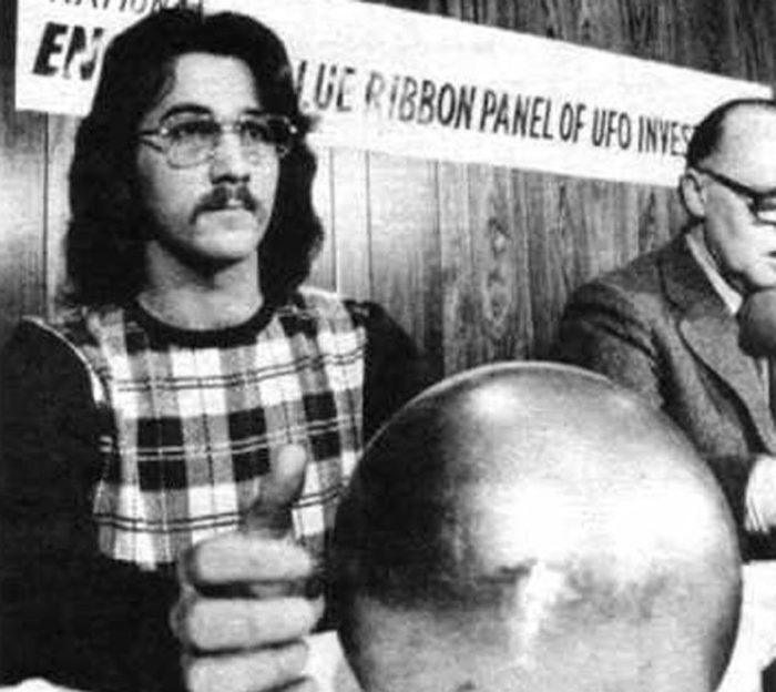 Terry Betz  with the strange silver sphere in 1974