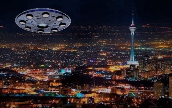 A depiction of a UFO over Tehran